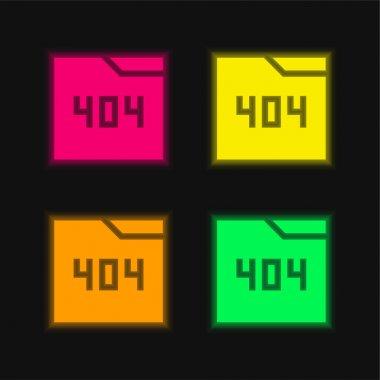 404 four color glowing neon vector icon stock vector