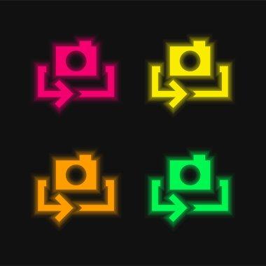 Arrow four color glowing neon vector icon stock vector