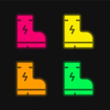 Boot four color glowing neon vector icon stock vector