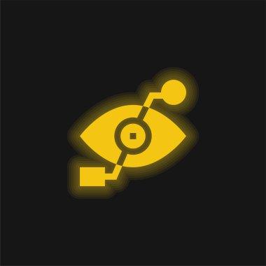 Bionic Eye yellow glowing neon icon