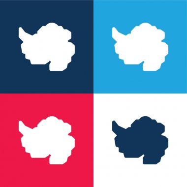 Antarctic blue and red four color minimal icon set stock vector