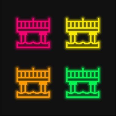 Bridge four color glowing neon vector icon stock vector