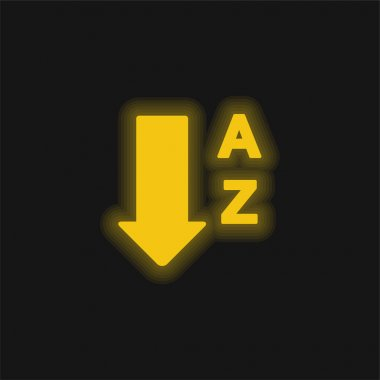 Alphabetical Order From A To Z yellow glowing neon icon