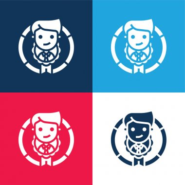 Appraisal blue and red four color minimal icon set stock vector