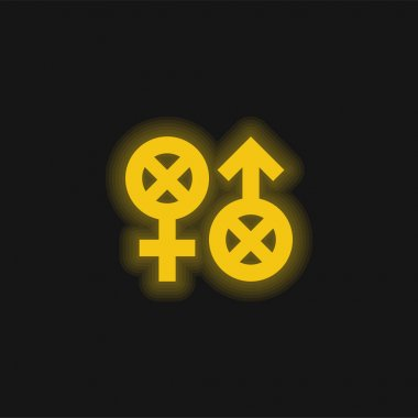Biphobia yellow glowing neon icon