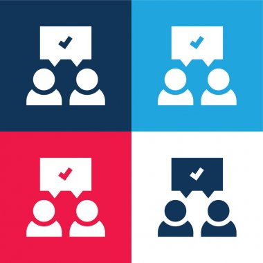 Agreement blue and red four color minimal icon set stock vector