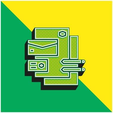 Branding Green and yellow modern 3d vector icon logo stock vector