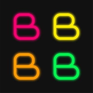 Blogger Logo four color glowing neon vector icon stock vector