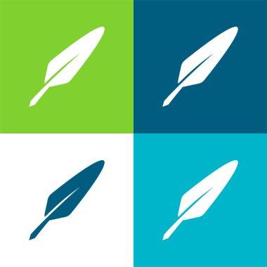 Bird Feather Flat four color minimal icon set stock vector