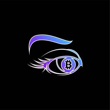 Bitcoin Sign In Eye Iris blue gradient vector icon stock vector