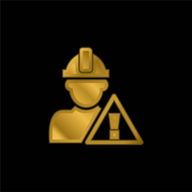 Attention Signal And Construction Worker gold plated metalic icon or logo vector stock vector