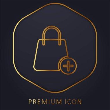Bag golden line premium logo or icon stock vector