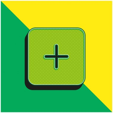 Adding Black Square Button Interface Symbol Green and yellow modern 3d vector icon logo stock vector
