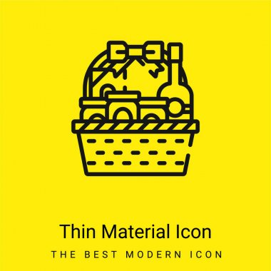 Basket minimal bright yellow material icon stock vector