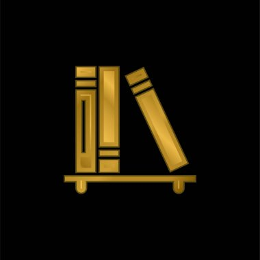 Books gold plated metalic icon or logo vector stock vector