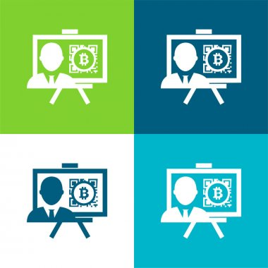 Bitcoin Presentation With Reporter Flat four color minimal icon set stock vector
