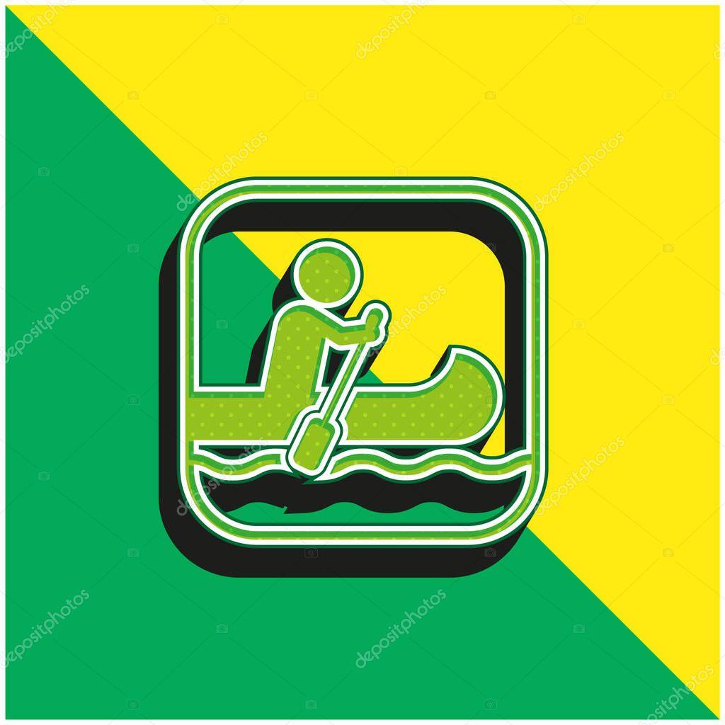 Nautica segno verde e giallo moderno 3d vettoriale icona logo