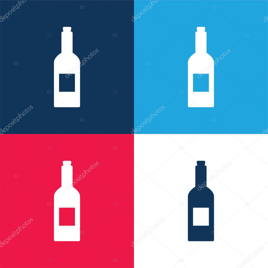 Bottle Of Wine blue and red four color minimal icon set stock vector