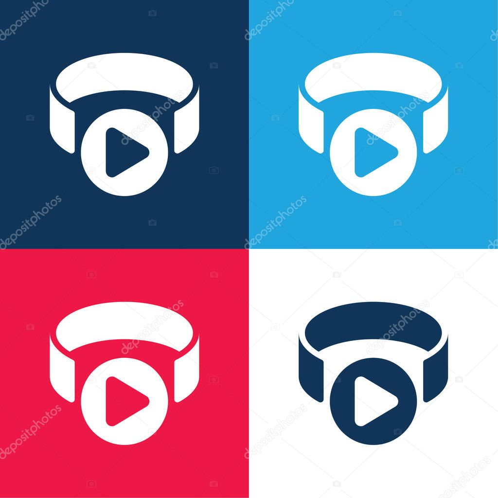 3d Viewer blue and red four color minimal icon set stock vector