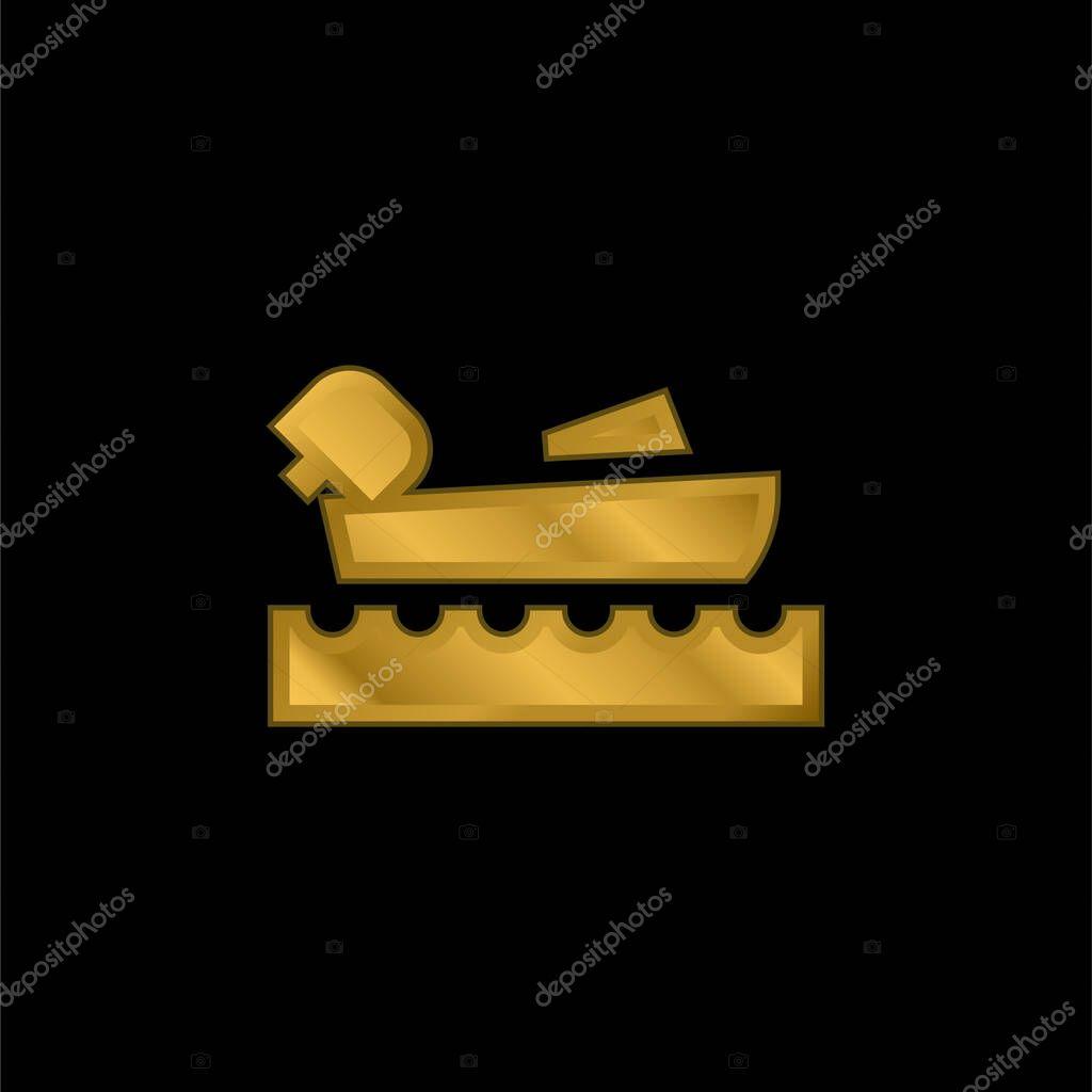 Nautica oro placcato icona metallica o logo vettoriale