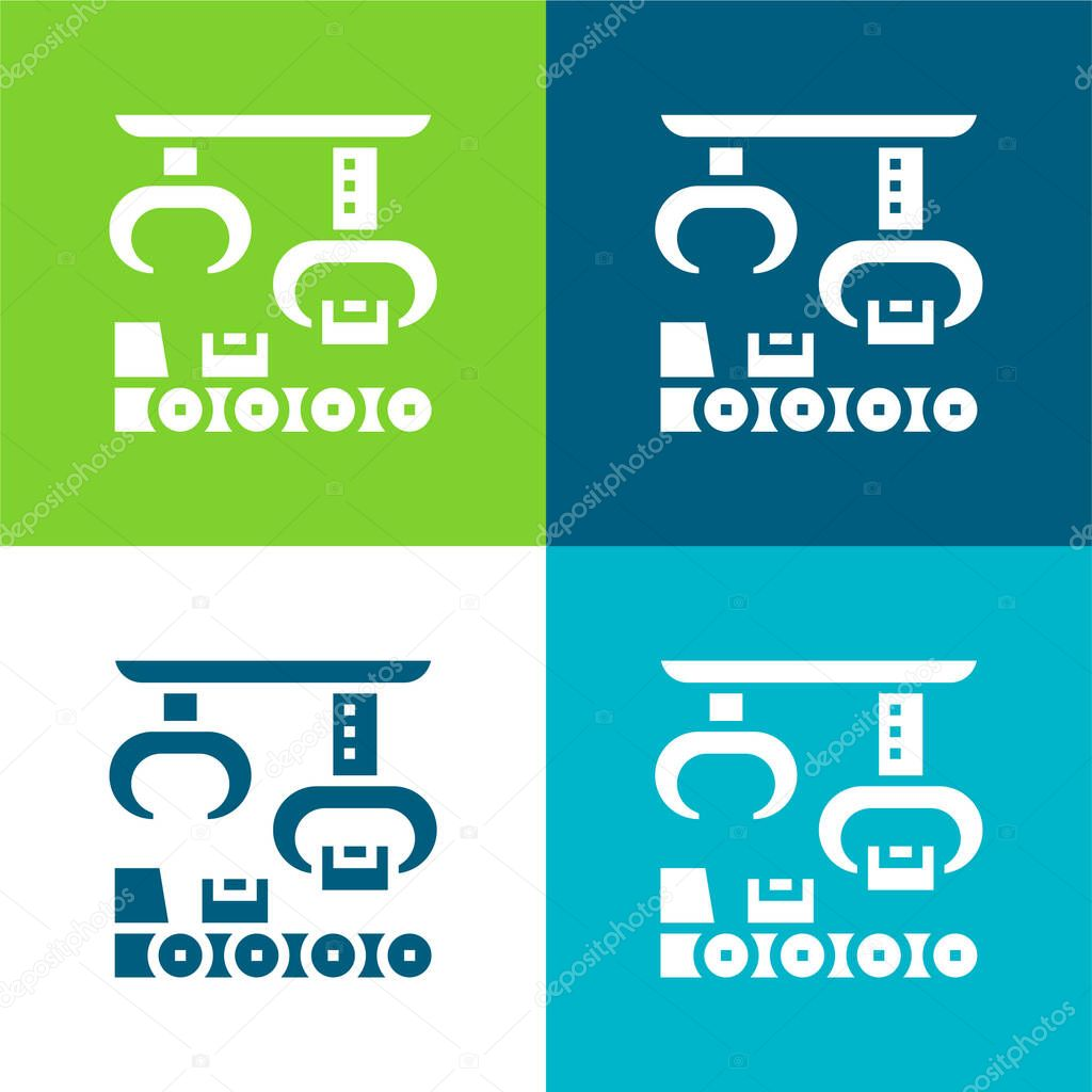 Assembly Flat four color minimal icon set stock vector