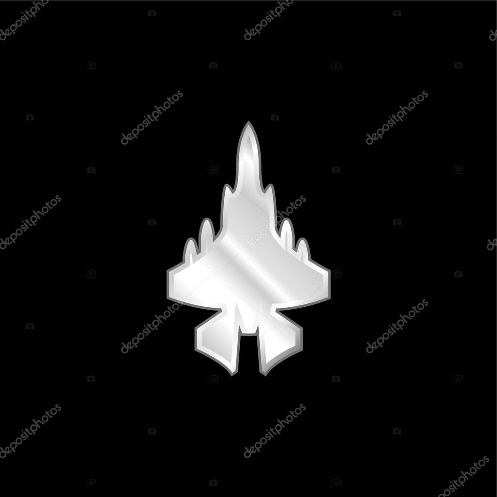 Army Airplane silver plated metallic icon stock vector