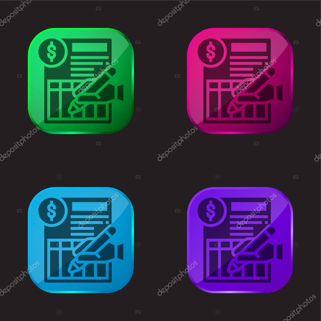 Bank Statement four color glass button icon stock vector
