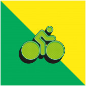 Bicycle With Big Wheels And Cyclist Green and yellow modern 3d vector icon logo