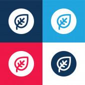 Biologische blaue und rote Vier-Farben-Minimalsymbole