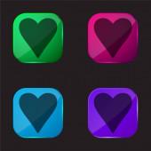 Black Heart Love Symbol four color glass button icon
