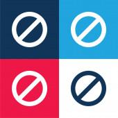 Verbot blauer und roter Symbole in vier Farben