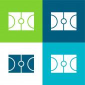 Kosárlabda lakás négy szín minimális ikon készlet
