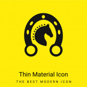 Black Head Horse In A Horseshoe minimal bright yellow material icon
