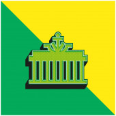 Brandenburger Tor Grünes und gelbes modernes 3D-Vektor-Symbol-Logo