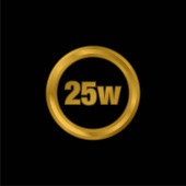 25 Watts Lamp Indicator gold plated metalic icon or logo vector