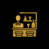 Rúd aranyozott fém ikon vagy logó vektor
