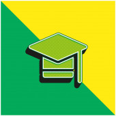 Bachelors Degree Green and yellow modern 3d vector icon logo