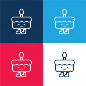 Birthday Cake blue and red four color minimal icon set
