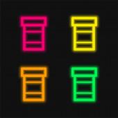 Flasche Pillen vier Farben leuchtenden Neon-Vektor-Symbol