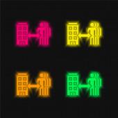 B2b négy szín izzó neon vektor ikon
