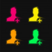Add User To Social Network four color glowing neon vector icon