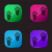 Animal Footprints négy színű üveg gomb ikon