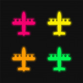 Airplane With Four Propellers four color glowing neon vector icon