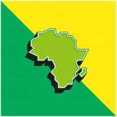 Afrika Zelená a žlutá moderní 3D vektorové ikony logo