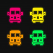 Letiště Bus čtyři barvy zářící neonový vektor ikona