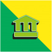 Ancient School Green and yellow modern 3d vector icon logo