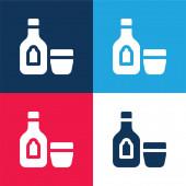 Alkoholik Nápoj modrá a červená čtyři barvy minimální ikona sada