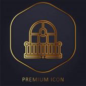 Balkón zlatá čára prémie logo nebo ikona