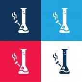 Bong blau und rot vier Farben minimales Symbol-Set