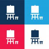 Art modrá a červená čtyři barvy minimální ikona nastavena